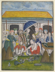 Asaf al-Daula (Nawab of Oudh) at a cock-fight with Europeans.